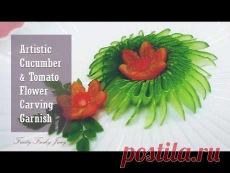 El pepino artístico y el grabado de tomate de flores la Guarnición - la idea del diseño vegetal