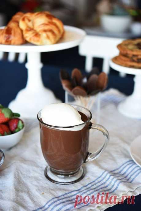 Рецепт лучшего в мире горячего шоколада  Горячий шоколад — самый приятный зимний напиток, без него невозможно представить себе уютные вечера у камина и в маленьких кафе. В самых популярных новогодних фильмах все пьют этот шоколад, невольно его рекламируя. Это не просто лакомство, это символ…  Ингредиенты:  Для взбитых сливок: 1 чашка охлажденных жирных сливок Для горячего шоколада: 2 чашки цельного молока 50 г (около 1/2 стакана) сухого молока 3г (около 1 чайной ложки) кук...