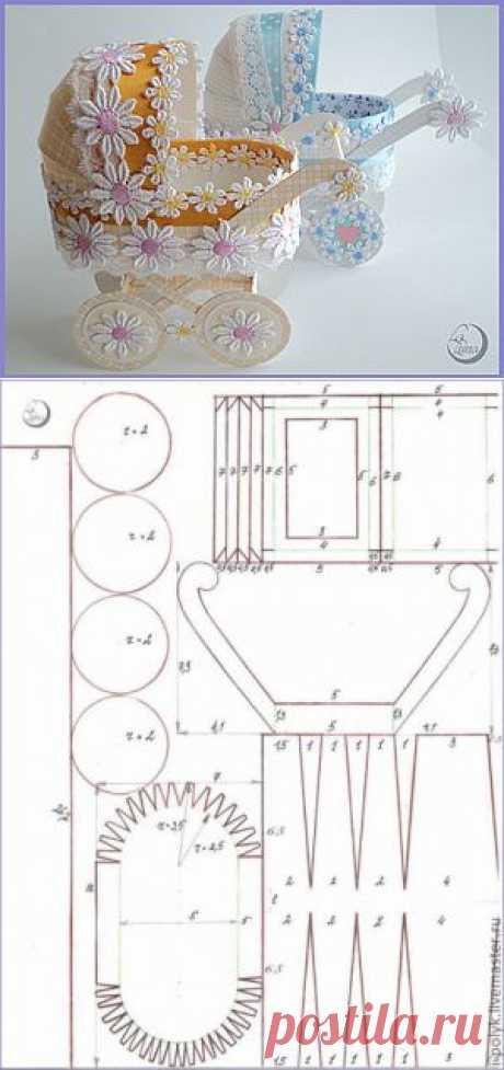 (+1) - Подробный мастер-класс по изготовлению детской коляски из картона | Очумелые ручки