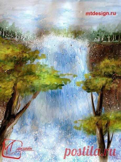 Рисуем водопад — Сделай сам, идеи для творчества - DIY Ideas