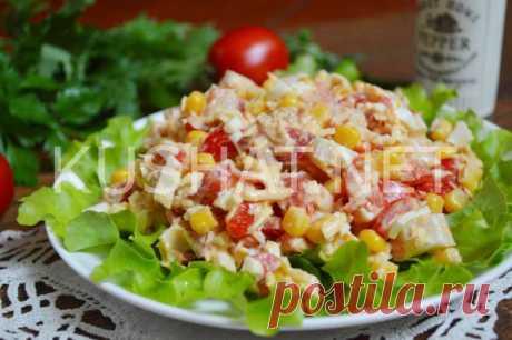 Салат с тунцом, помидорами, яйцом и кукурузой. Пошаговый рецепт с фото • Кушать нет