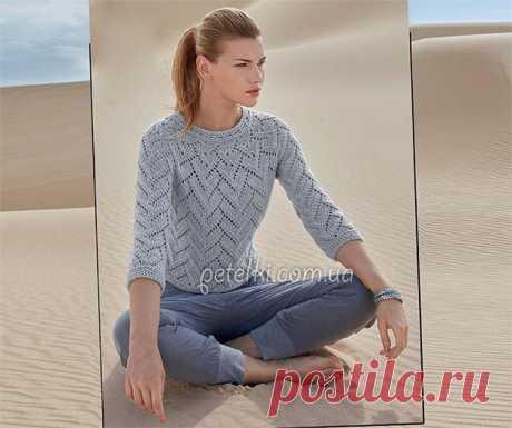 Ажурный пуловер спицами единым полотном без швов. Схемы, описание - Неспешный разговор - медиаплатформа МирТесен