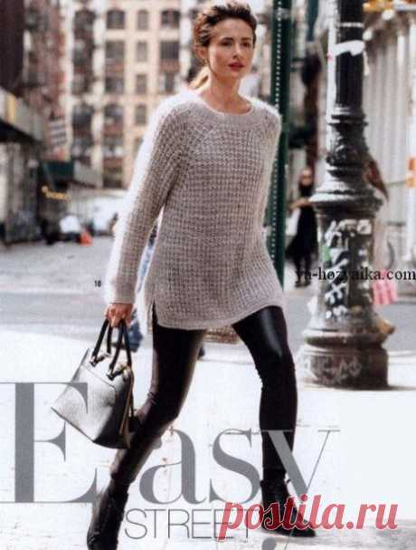 Серый пуловер спицами из мохера. Связать модный пуловер спицами Серый пуловер спицами из мохера. Связать модный пуловер спицами