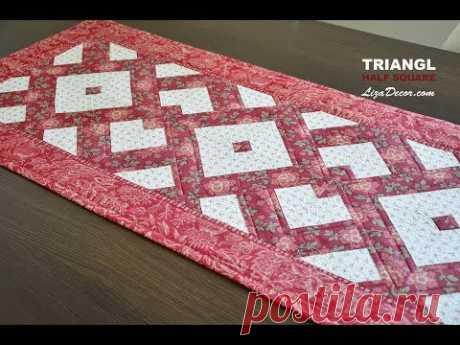 Patchwork tutorial Triangl Half Square - Rychlé šití z pruhů