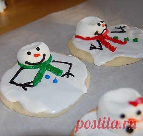 Печенье Растаявший Снеговик с фото - Как это делается