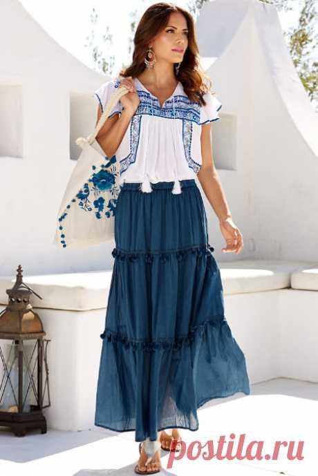 Pom-pom Trim Maxi Skirt | Boston Proper