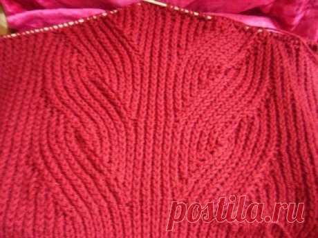 Узор с косами из английской резинки   Узор вяжется по схеме на 57 п.   Я использовала этот узор для вязания пуловера из нити пехорка Популярная.   На спицы №4 набрала 91 п. и связала для планки 6см резинкой.1изн. х 1лиц   (начиная в 1-м ряду с кром., 1 изн).   Затем вязать по схеме 1-и 2-й ряд англ. резинкой.   Узор английская резинка: 1-й (лиц.)ряд: 1 кром,, 1 изн. @1 (1) лиц.п. снять с накидом как изн.,   1 изн. повторять от * 1 кром.   2-й (изн.)ряд: 1 кром., 1 лиц. * п...
