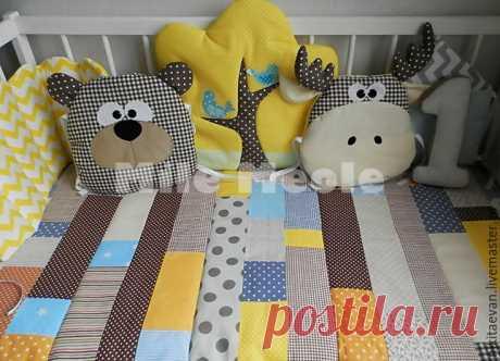 Купить Бортики в кроватку - коричневый, подушка, подушка декоративная, подушка-игрушка, бортики в кроватку, бортики