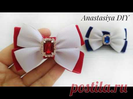 Простые Бантики Канзаши из бархатной и репсовой лент/Simple kanzashi bows from velvet and rep ribbon