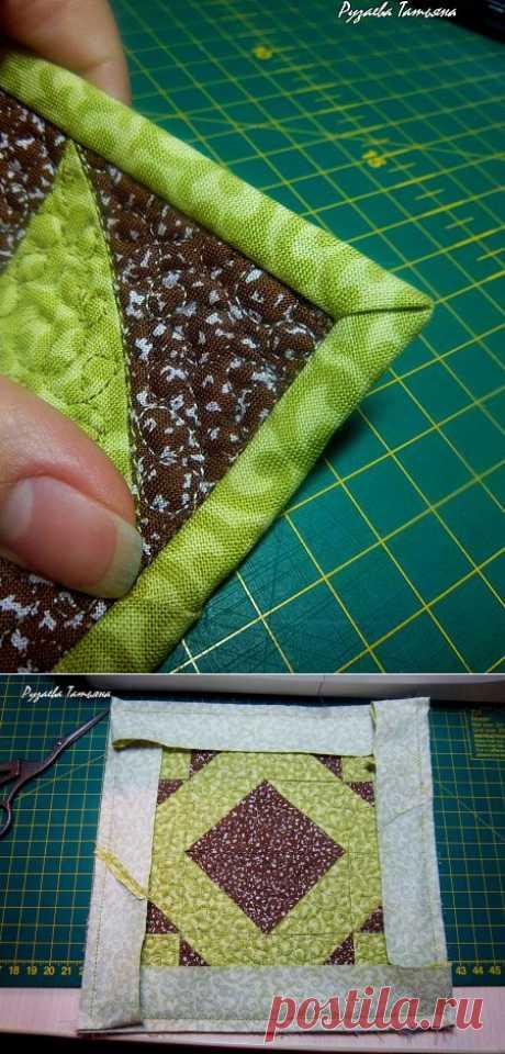 Как аккуратно оформить уголок изделия косой бейкой.