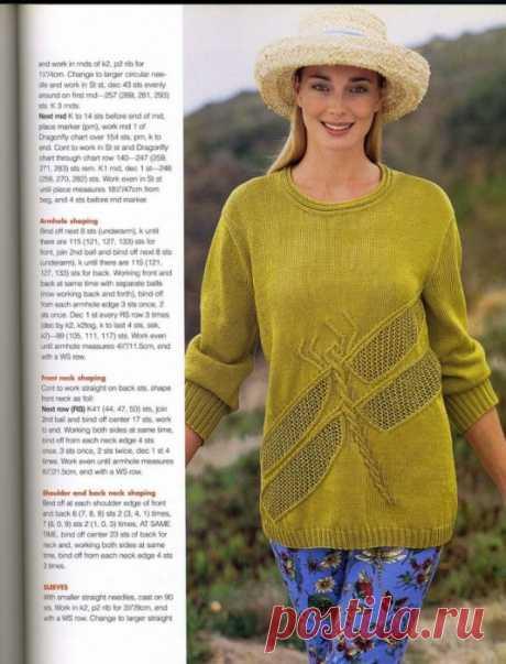 La blusa por los rayos con la libélula. La blusa con la cinta por los rayos | la Labor de punto para toda la familia