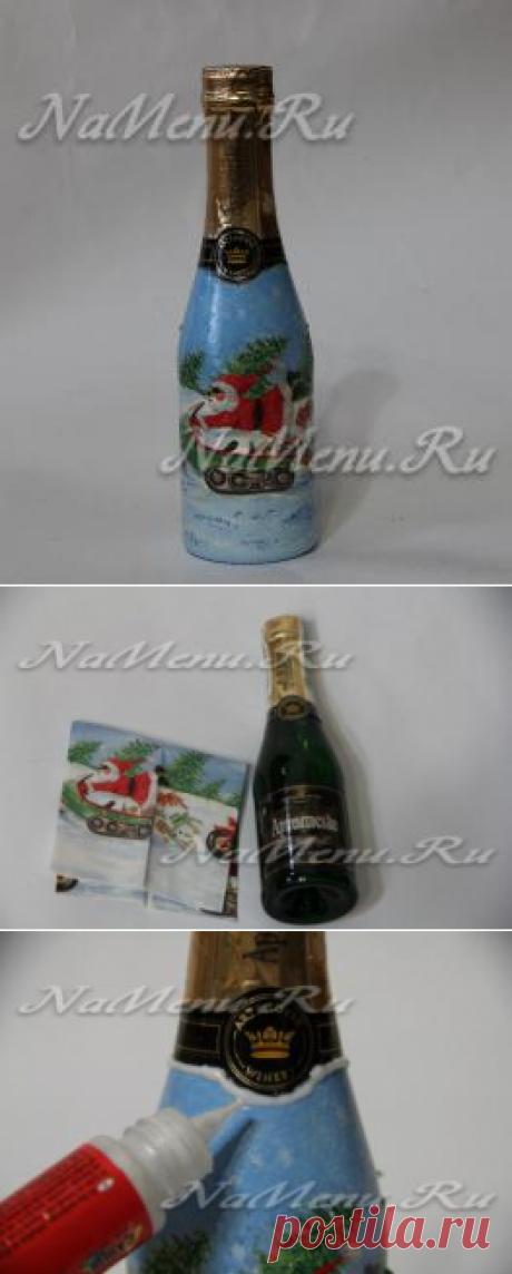 Dekupazh las botellas del champán para Nuevo año: el maestro la clase