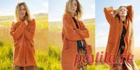 Оранжевое твидовое пальто Вязаное твидовое пальто с большими карманами. Стильное и модное женское вязаное спицами твидовое пальто с большими карманами.