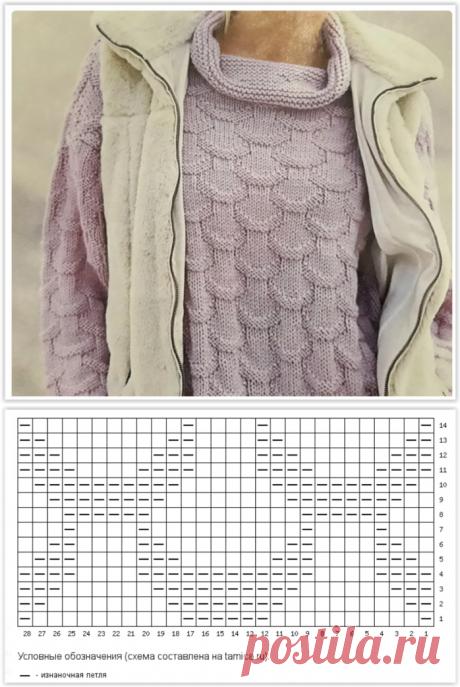 Очаровательный сиреневый пуловер - эта модель может стать предметом зависти знакомых!