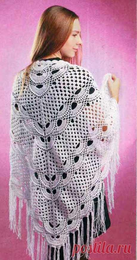 Белая ажурная шаль крючком - описание, схемы и фото красивой вязаной шали