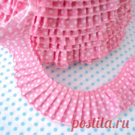 POLKA DOT PLEATED GATHERED TRIM EDGING RIBBON PLISSE all colours | eBay