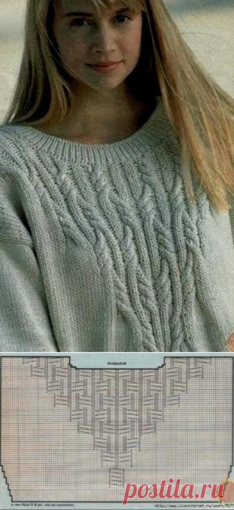 Пуловер с кокеткой косы спицами