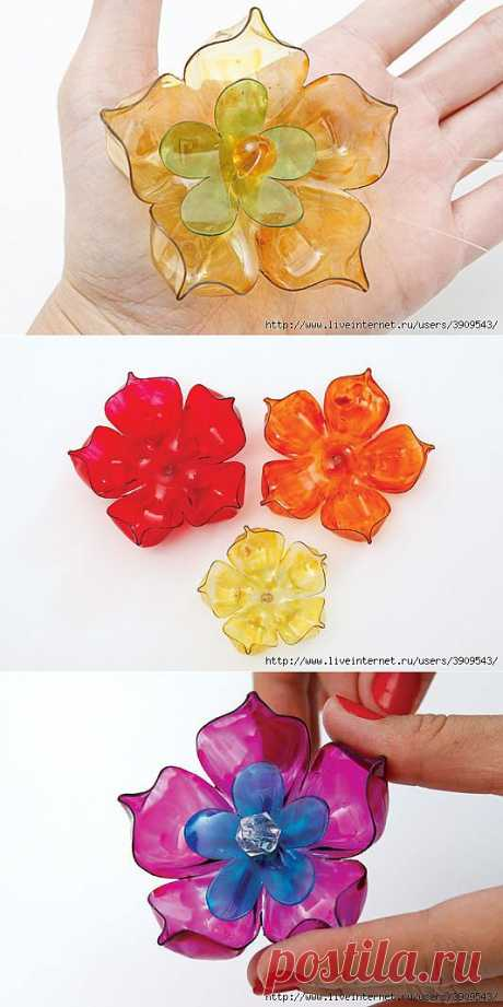 Flowers from plastic bottles + several ideas and MK on their use.