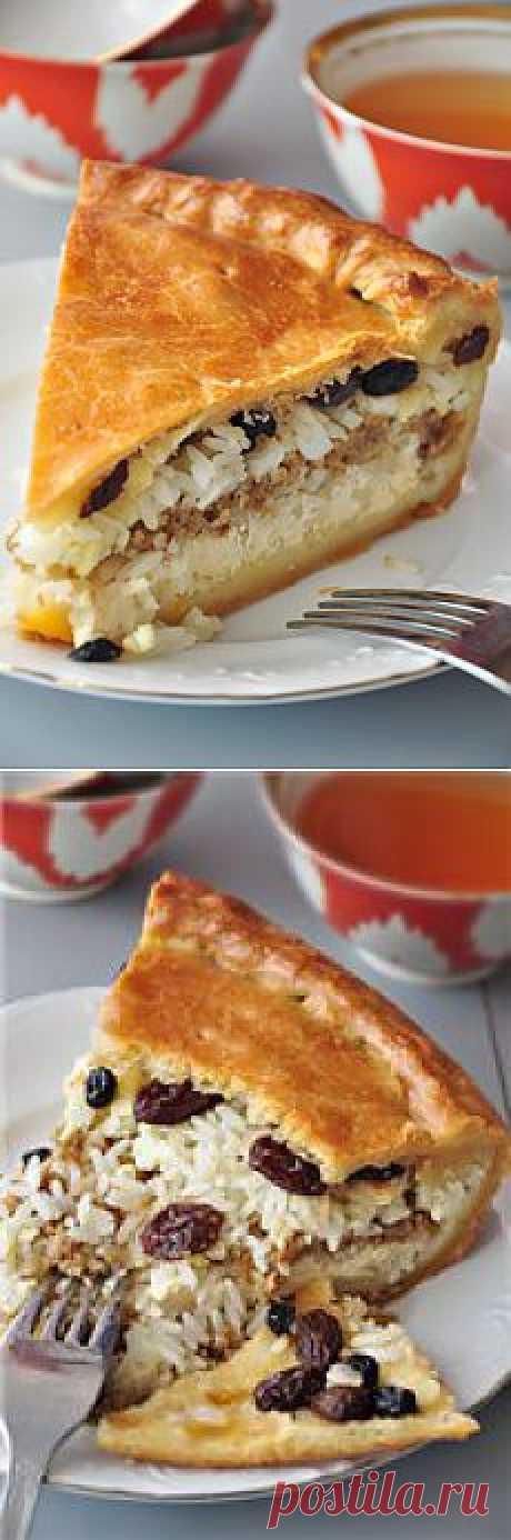 Губадия (татарский праздничный пирог). Очень вкусный и сытный пирог. Можно готовить его и без мяса, рецепт останется верным.