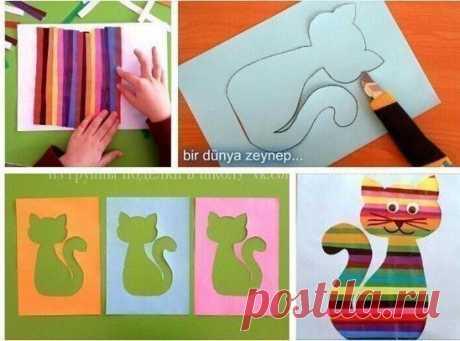 Полосатый котенок — Поделки с детьми