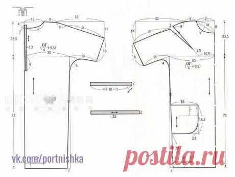 Выкройка-шаблон платья-туники с цельнокроеными рукавами и застежкой на спинке!