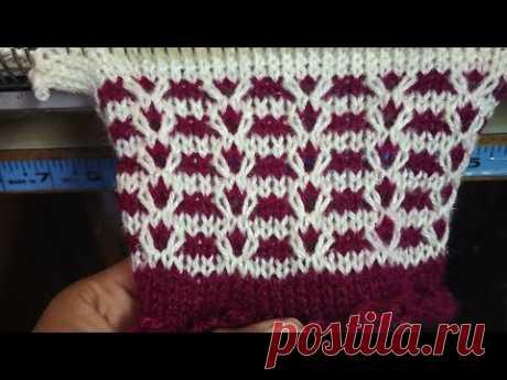 Two color design in knitting machine #6 (दो कलर का आसन डिजाइन #6)