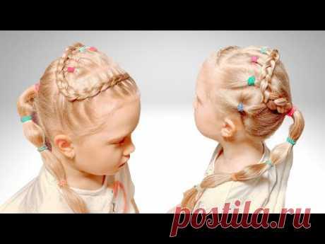 Прическа с цветными резинками | Прически для девочек - YouTube