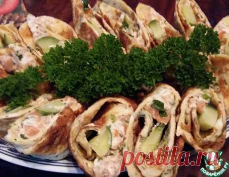 Роллы из омлета с лососевым кремом