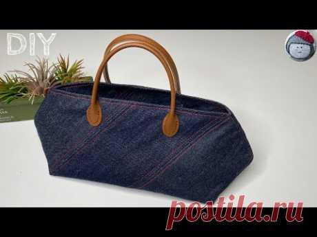Джинсовая сумка с кожаными ручками