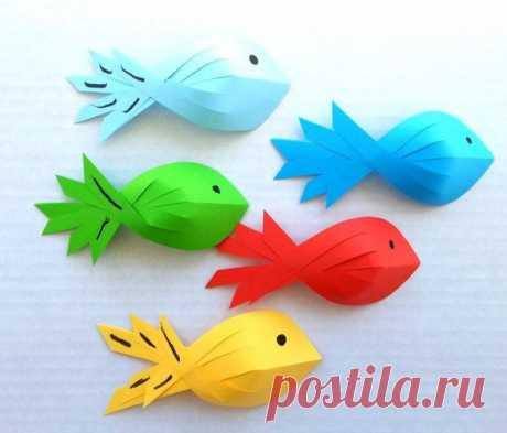 Рыбки из бумаги - Поделки с детьми | Деткиподелки