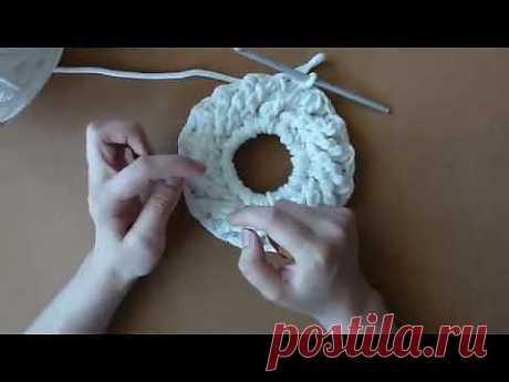 ▶ Коврик вязанный из шнура, часть 3, ряды 4 - 6 - YouTube