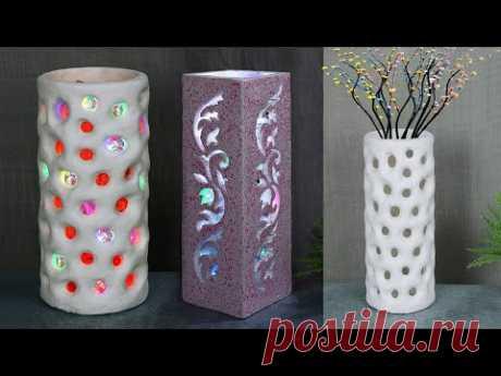 Paper Flower Vase making || Lighting corner vase with paper- পেপার দিয়ে ফুলদানি তৈরি দেখুন