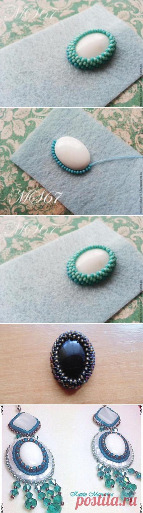Вышивка бисером. Урок №1. Как обшить бисером кабошон, мозаичное плетение. - Ярмарка Мастеров - ручная работа, handmade