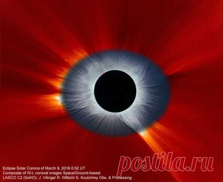 Мартовское полное солнечное затмение дало столько материала, что астрономы до сих пор работают над ним. В частности, получают вот такие снимки, где из наглядной схемы солнечной короны получилось настоящее око Саурона. Подробнее –