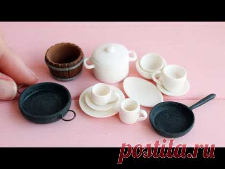 Посуда для куклы. Деревянные заготовки. Cookware set for doll. Wooden blanks. Tutorial. DIY.