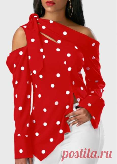 Red Asymmetric Hem Polka Dot Print Long Sleeve Blouse Red Asymmetric Hem Polka Dot Print Long Sleeve Blouse on sale only US$25.44 now, buy cheap Red Asymmetric Hem Polka Dot Print Long Sleeve Blouse at liligal.com