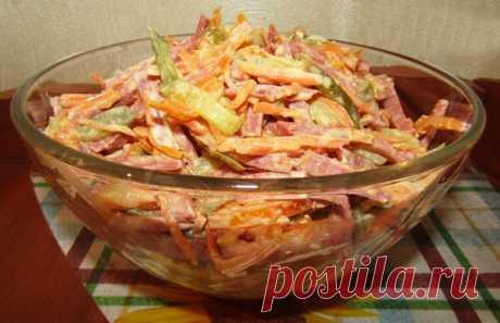 Салат с копченой колбасой и морковью по-корейски — Кулинарная страничка