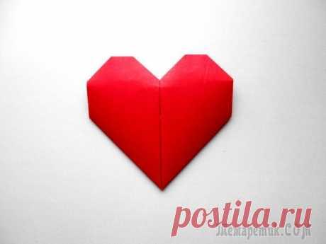 Сердце из бумаги. Оригами сердечко Поделка сердце из бумаги пользуется наибольшей популярность в канун праздника Дня Святого Валентина или Дня всех влюбленны Сердечко оригами из квадратного листа бумаги размером 20*20 см. - это будет х...
