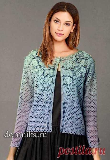 Схемы вязания женской кофточки крючком красивая кофточка с цветами
