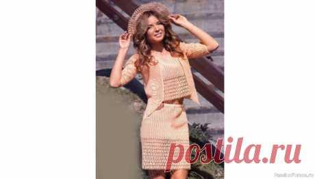 Романтичный стиль. Летний костюм персикового цвета | Женская одежда крючком. Схемы и описание Этот костюм, выполненный из хлопчатобумажной пряжи персикового цвета, позволит сохранить романтический образ летом.Костюм, связанный филейными и фантазийными узорами, состоит из топа, жакета с фестонами, юбки и шляпки с полями.ТОПРазмер: 40/42Вам потребуется: 125 г пряжи Alpina «XENIA»...