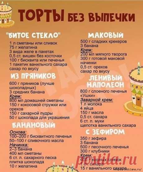 Рецепты тортов без выпечки