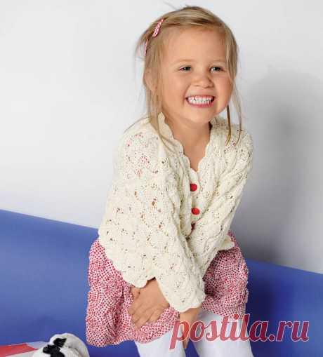 Ажурная кофточка для девочки - схема вязания спицами. Вяжем Кофты на Verena.ru
