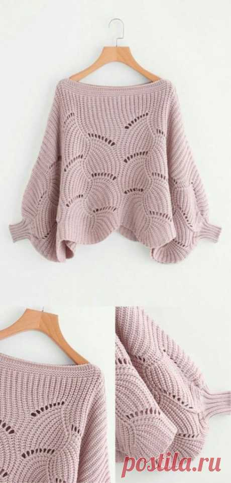 Вязаный пуловер с элементами ирландского кружева — HandMade