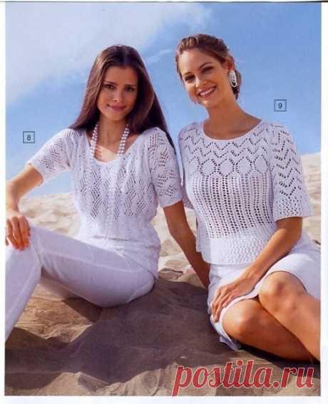 Две летние блузы спицами   Кликните по картинке, чтобы увеличить её   источник