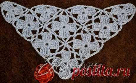 Шаль из цветочных мотивов — Crochet by Ellej | Вязание крючком от Елены Кожухарь