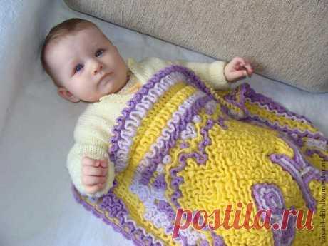 Детский плед, выполненный в технике объемного вязания. - Ярмарка Мастеров - ручная работа, handmade