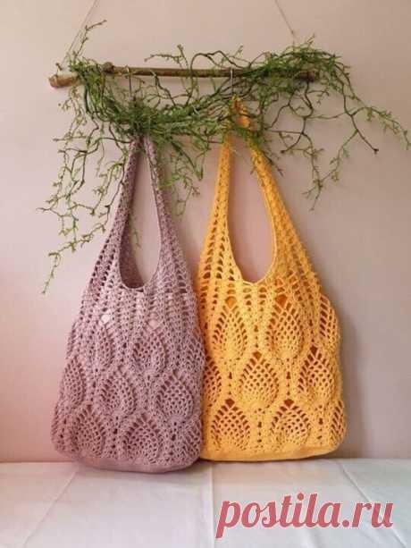 Классные сумки- авоськи  #азиатскоевязание #сумка