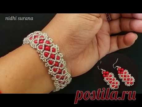 ⚜️ Gorgeous Bracelet+Earrings || Red&Silver Party Wear Band || Aretes & Pulsera Tutorial Diy (0402/