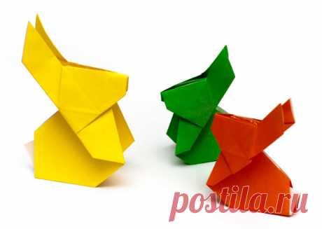 Оригами зайчик. Детские поделки из цветной бумаги.   ИЗ БУМАГИ СВОИМИ РУКАМИ