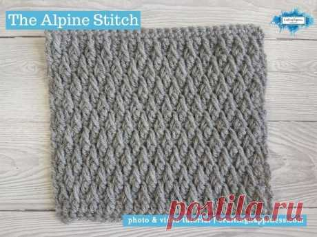 The YELLOW squares are a textured diamond shape. The Alpine Stitch Crochet Pattern | Crafting Happiness